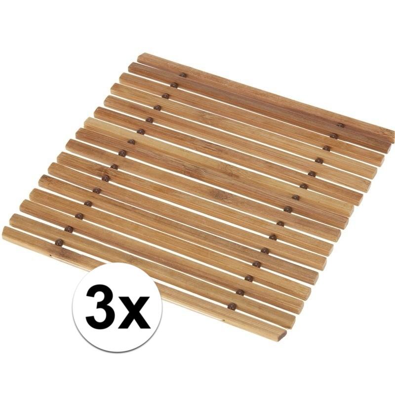 3x Pannen onderzetter bamboe 18 cm