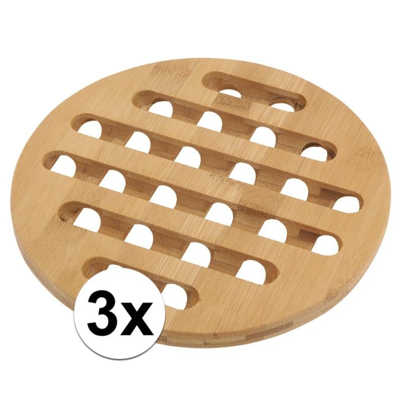 3x Ronde pannen onderzetter bamboe 20 cm