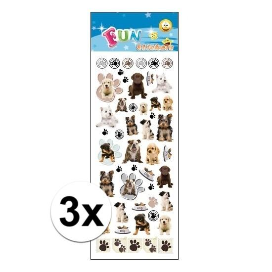 3x Stickervel honden