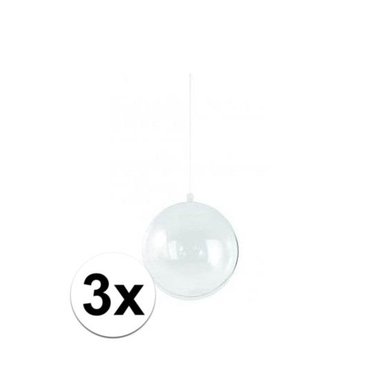 3x stuks transparante kerstballen 14 cm