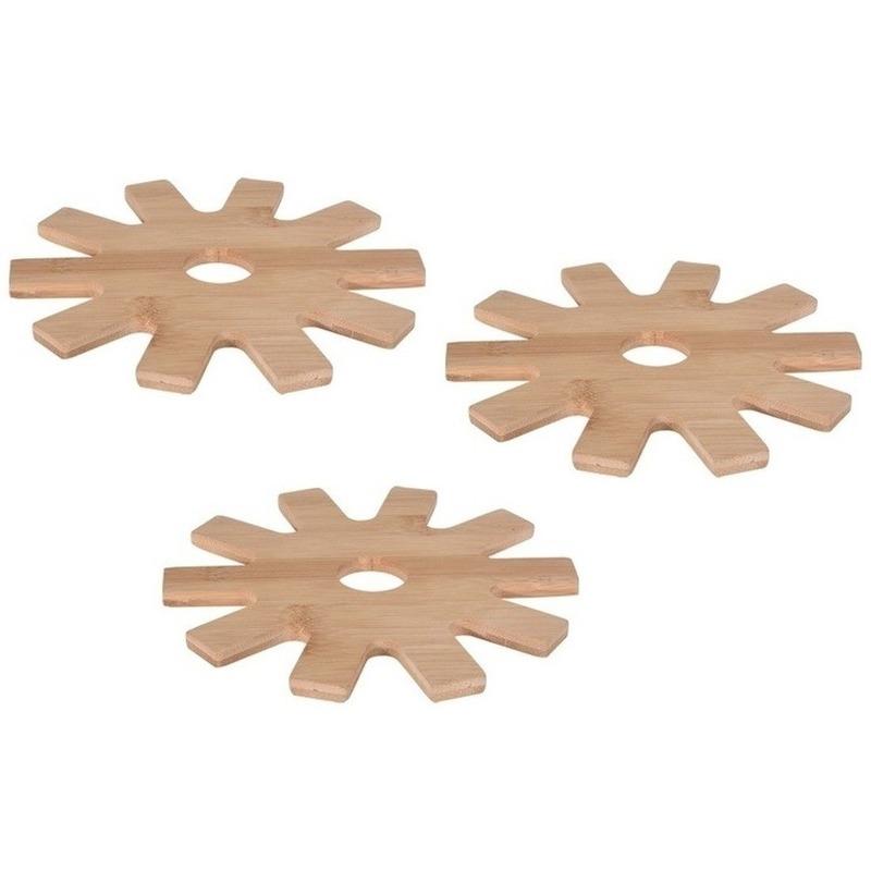 3x Tandwiel pannen onderzetters bamboe 20 cm