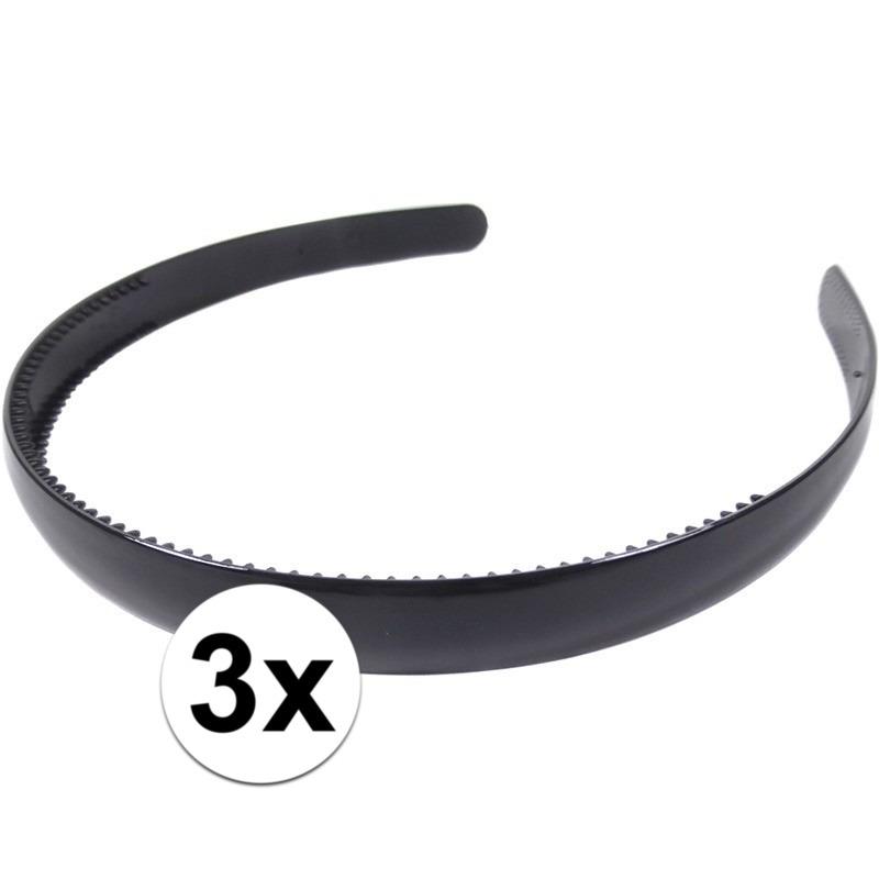 3x Zwarte dames diadeem-haarband 1,5 cm breed
