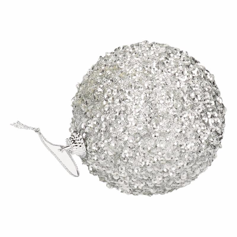 4 zilveren kerstballen 7 cm