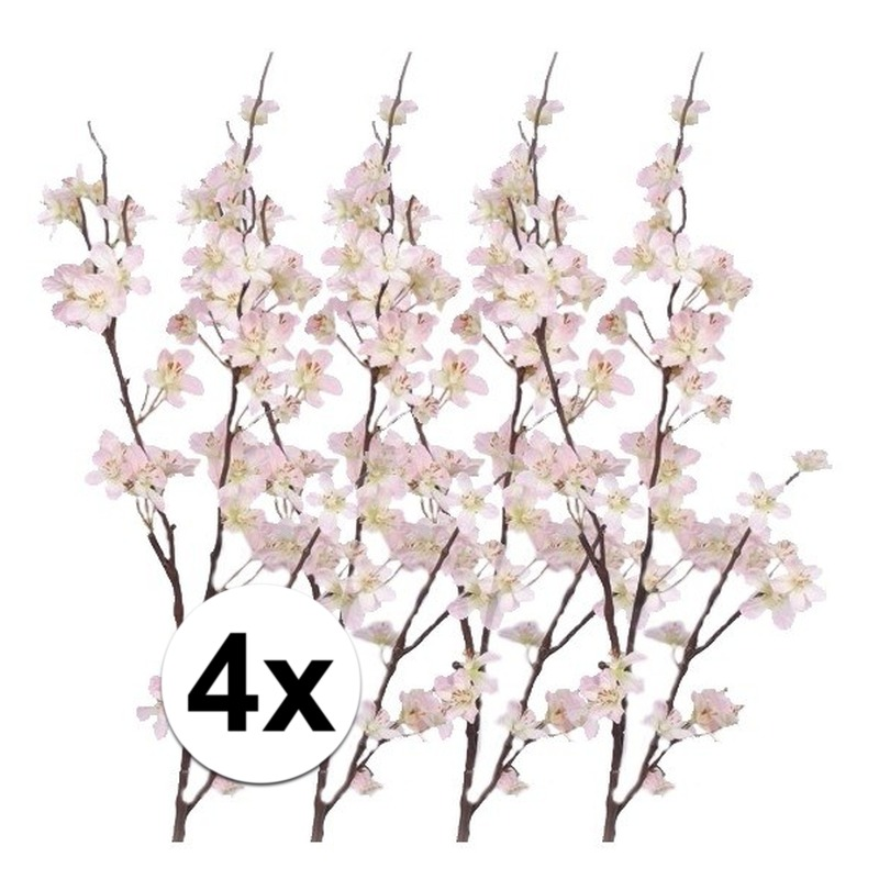 4x Decoratie appelbloesem tak roze 84 cm