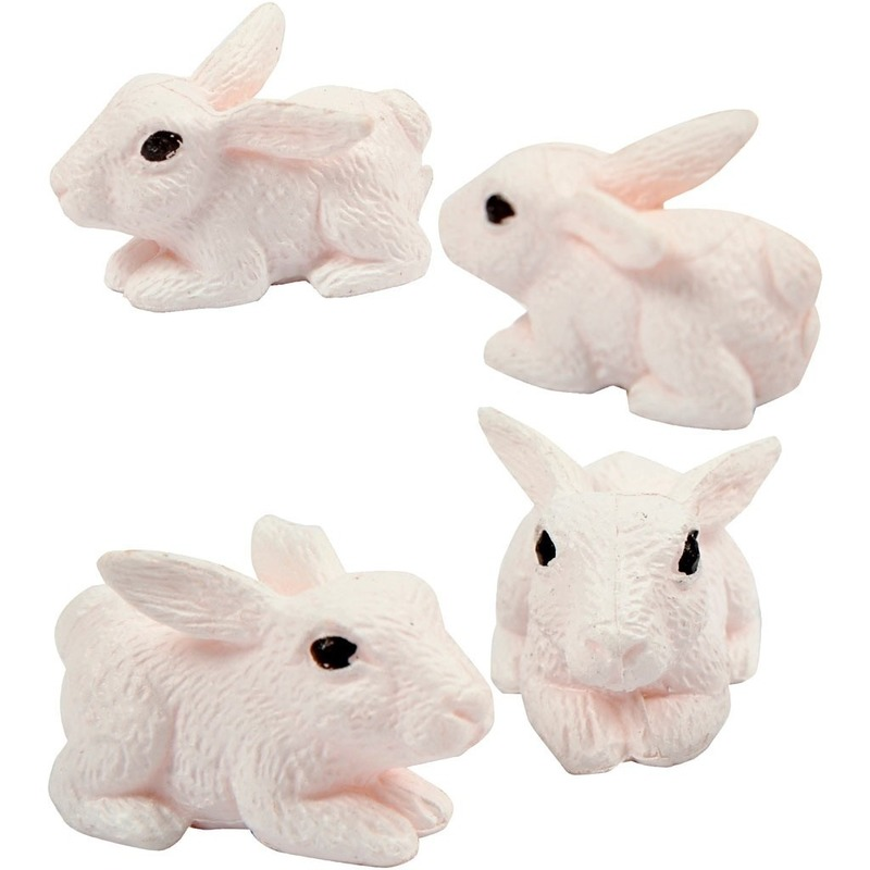 4x Decoratie konijntjes-haasjes 1 cm