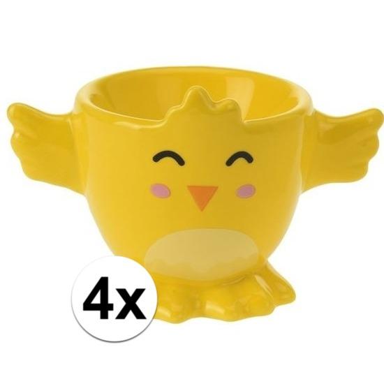 4x Gele kuiken-kippen eierdop 7 cm