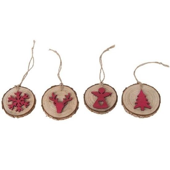 4x Kersthangers houten boomschijfjes met rode Kerstfiguren 6 cm