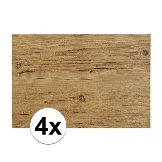 4x Placemats in donkerbruin woodlook print 45 x 30 cm