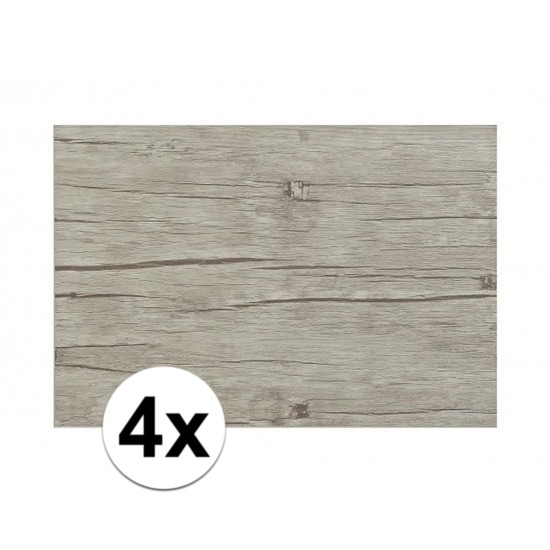 4x Placemats in lichtgrijs woodlook print 45 x 30 cm