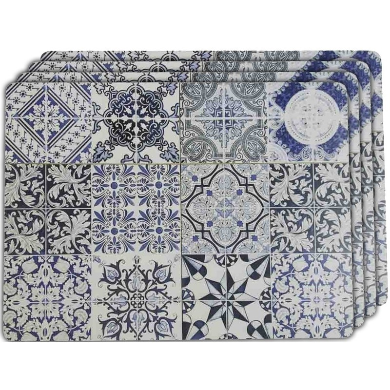 4x Placemats tegels Barcelona 40 x 30 cm