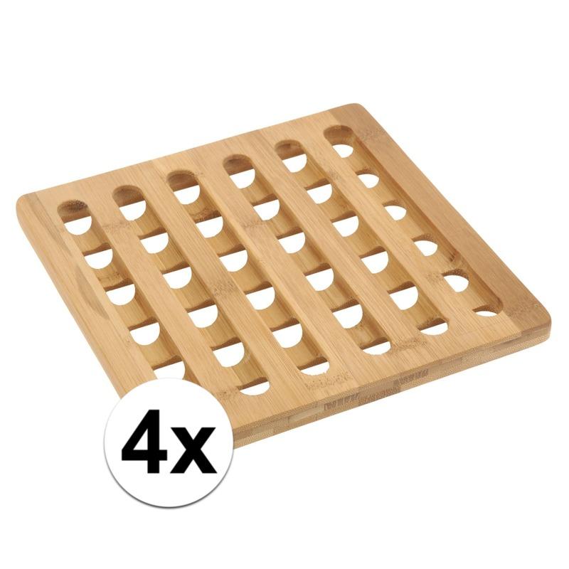 4x Vierkante pannen onderzetter bamboe 20 cm