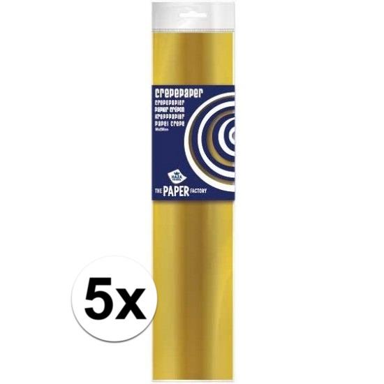 5x Crepe papier plat goud 250 x 50 cm knutsel materiaal