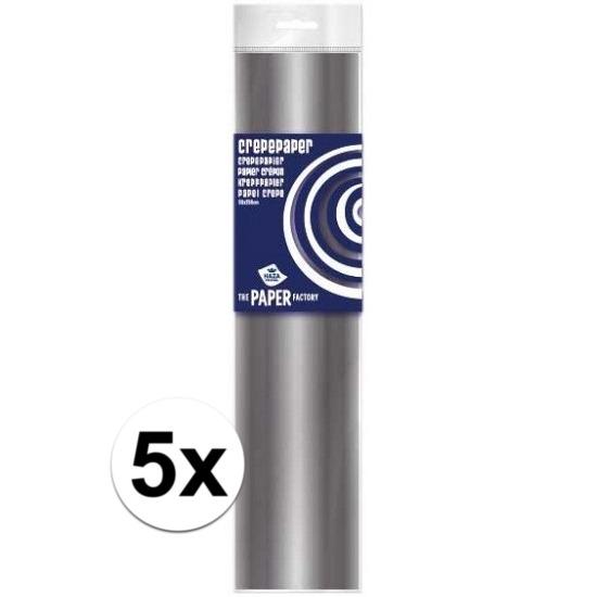 5x Crepe papier plat zilver 250 x 50 cm knutsel materiaal