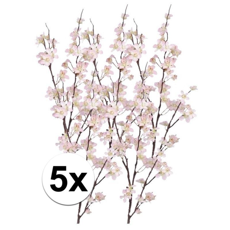 5x Decoratie appelbloesem tak roze 84 cm
