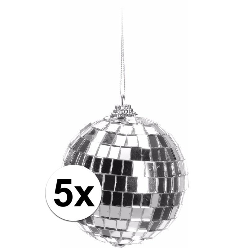 5x Kerstboom decoratie discoballen zilver 8 cm