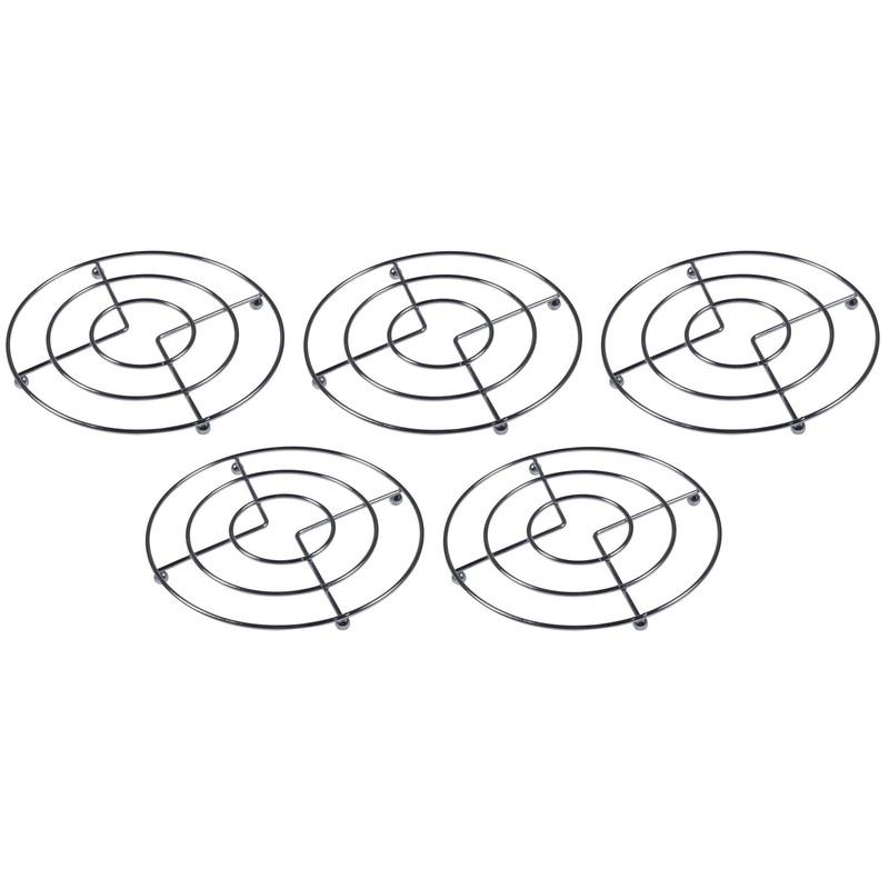 5x Pannen onderzetters chroom 17 cm