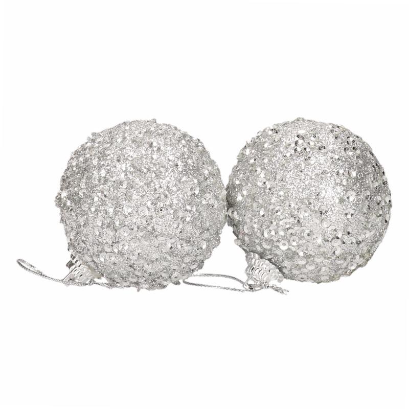 6 zilveren kerstballen 5 cm