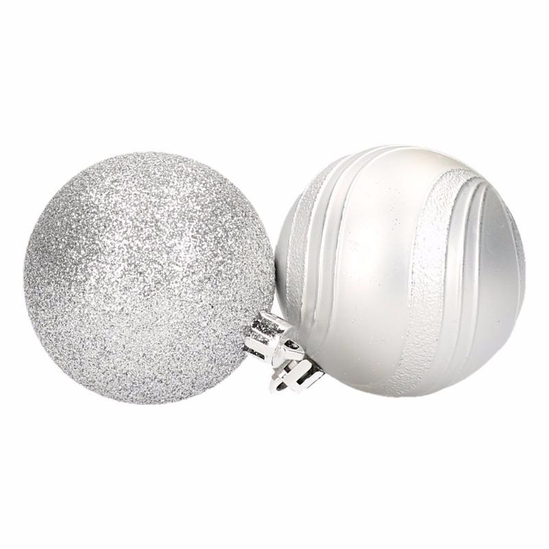6 zilveren kerstballen glitter en mat