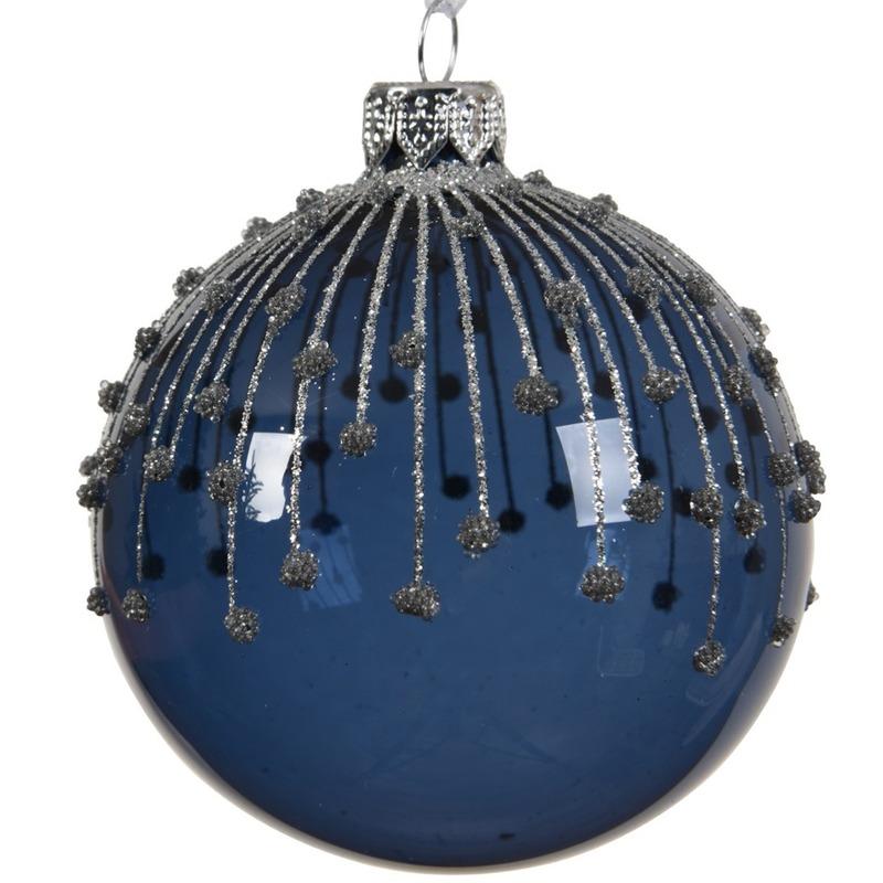 6x Blauwe kerstversiering transparante kerstballen van glas 8 cm