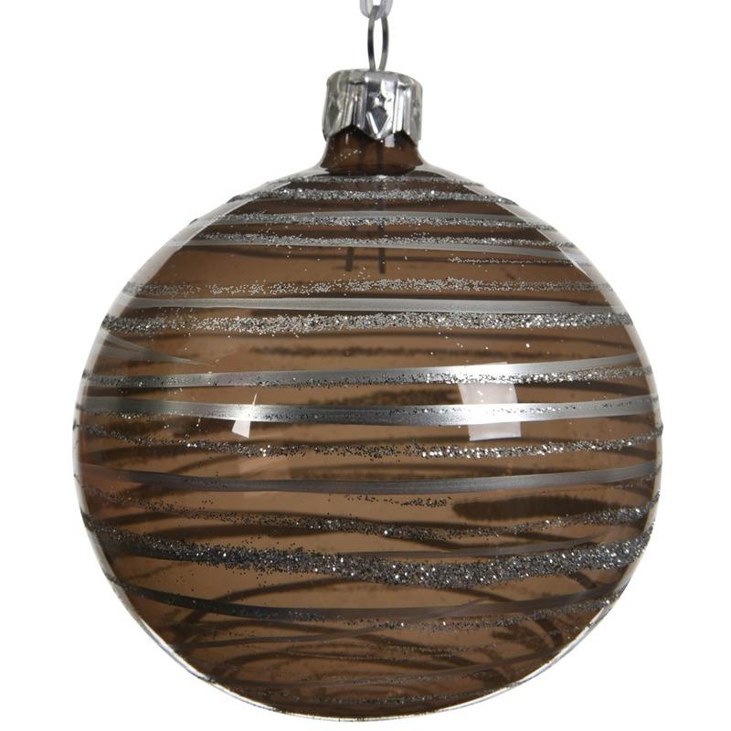 6x Bruine kerstversiering transparante kerstballen van glas 8 cm