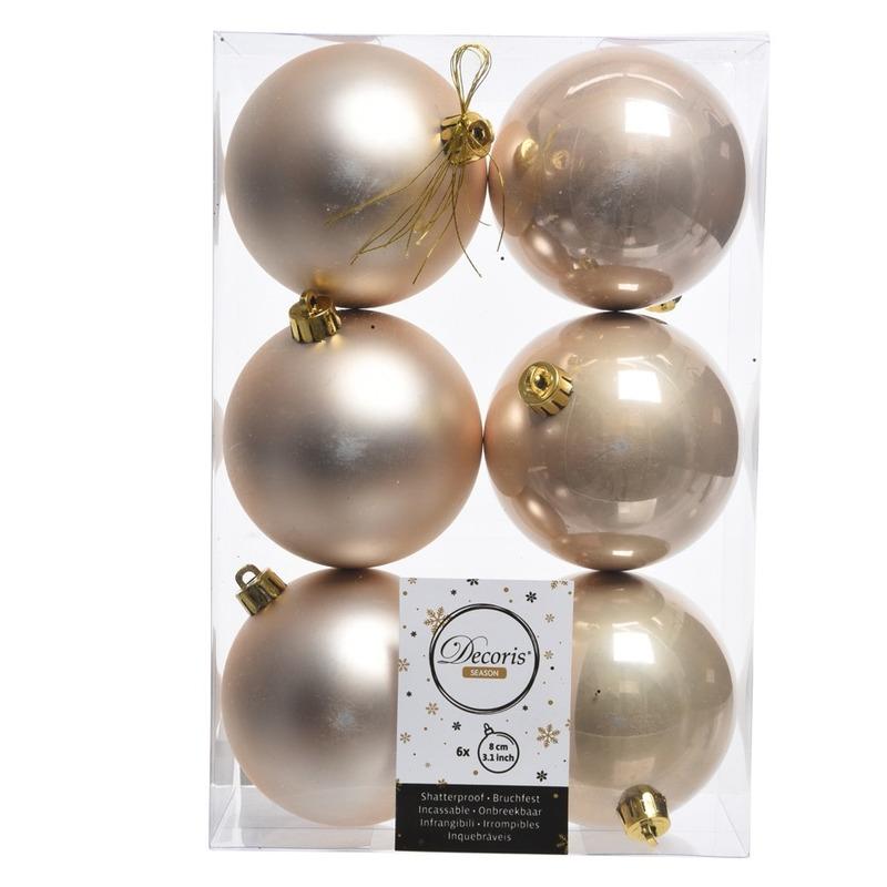 6x Creme kerstversiering kerstballen kunststof 8 cm