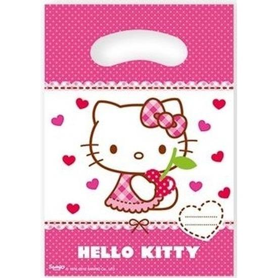 6x Hello Kitty themafeest feestzakjes 23 cm