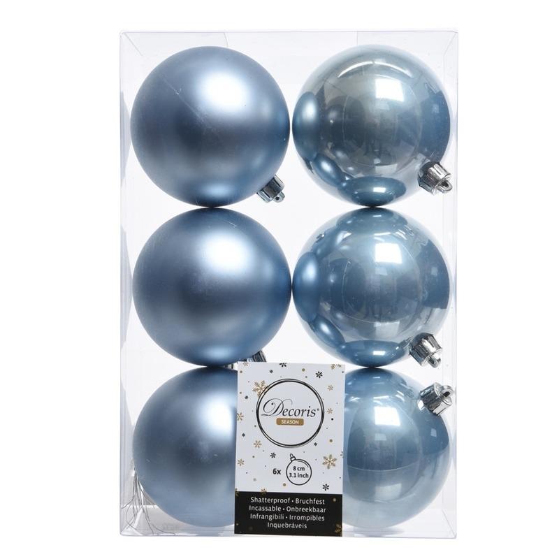6x IJsblauwe kerstversiering kerstballen kunststof 8 cm