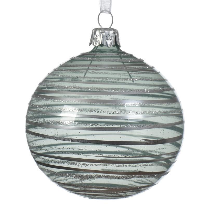 6x Mintgroene kerstversiering transparante kerstballen glas 8cm