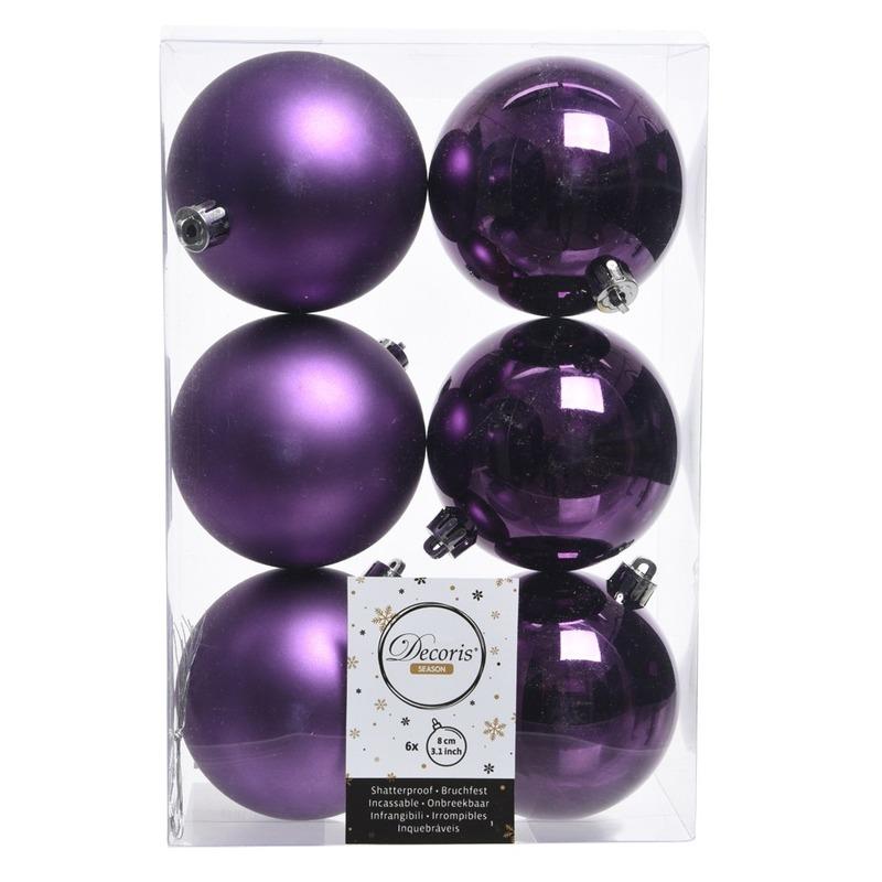 6x Paarse kerstversiering kerstballen kunststof 8 cm