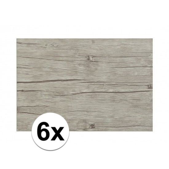 6x Placemats in lichtgrijs woodlook print 45 x 30 cm
