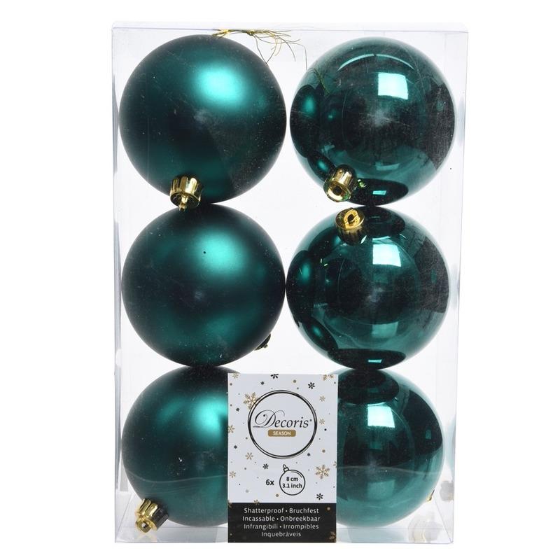 6x Smaragd groene kerstversiering kerstballen kunststof 8 cm
