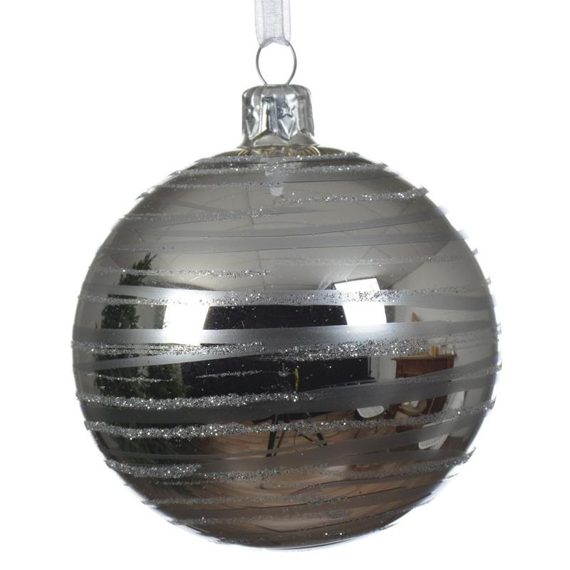 6x Zilveren kerstversiering transparante kerstballen glas 8 cm