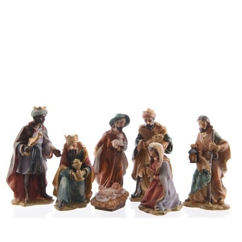 7-delige kerststal figuren beeldjes 9 cm