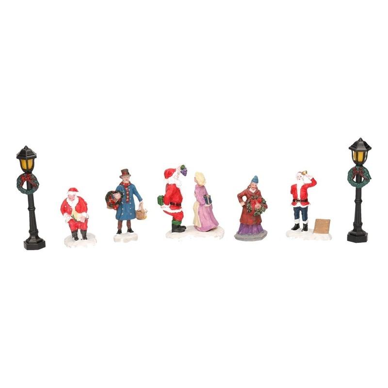 7x Kerstdorp figuren-poppetjes type 2