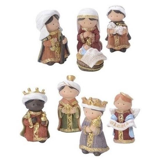 7x Kinder kerststal figuren-beelden 8 cm