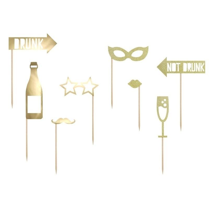 8x Foto-photo props champagne
