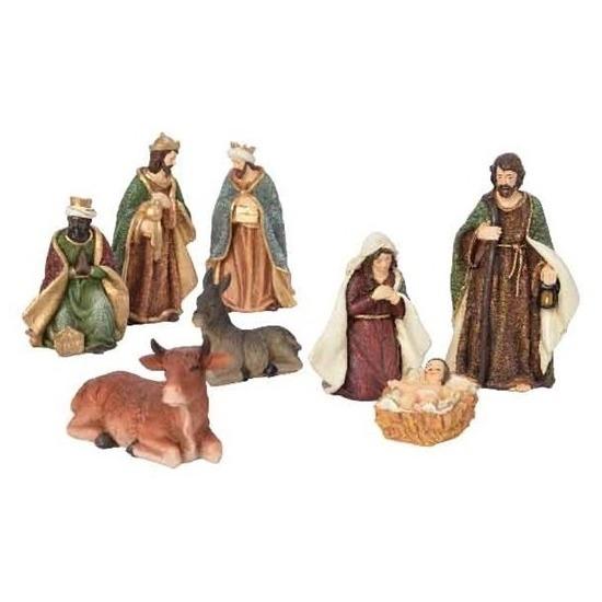 8x Kerststal figuren-beelden