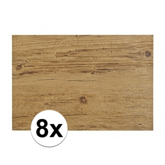 8x Placemats in donkerbruin woodlook print 45 x 30 cm