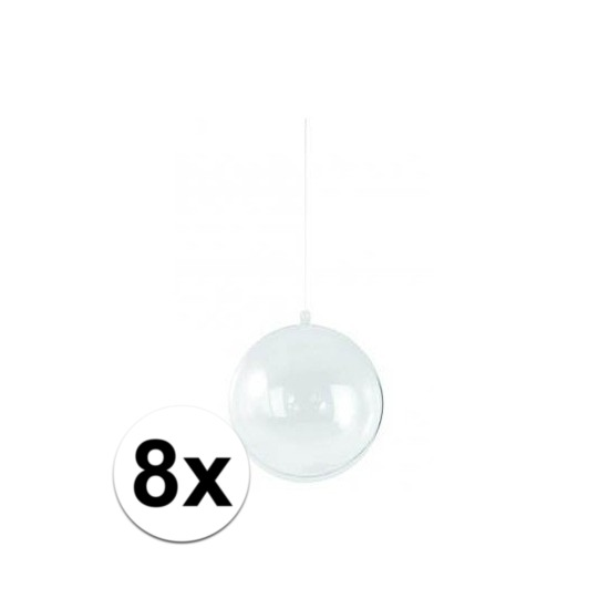 8x stuks transparante kerstballen 14 cm