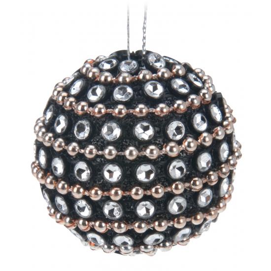 9x Kerstboomversiering zwarte kerstballen met steentjes 3,5 cm