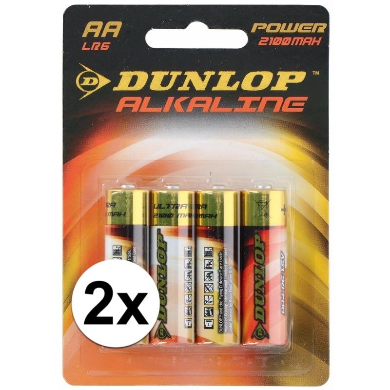 Alkaline batterijen LR6 AA Dunlop 8 stuks