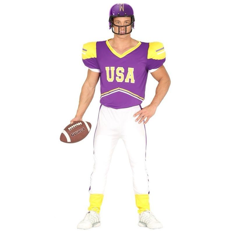 American football speler pak paars-geel voor heren