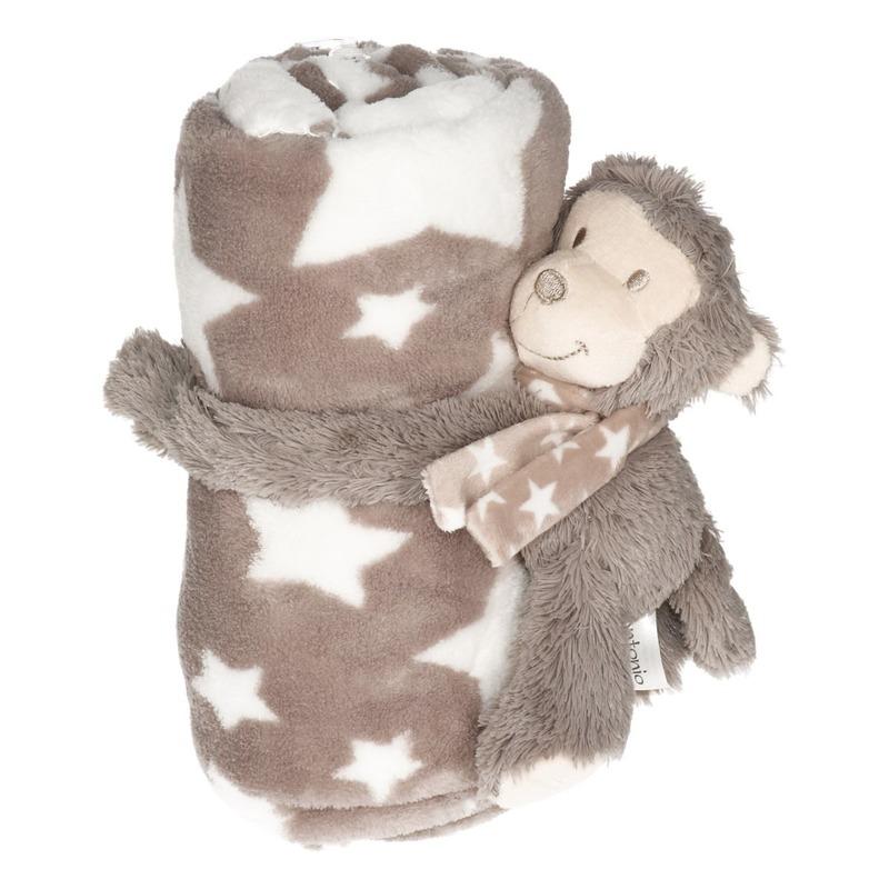 Baby-kinder grijs dekentje met apen knuffel