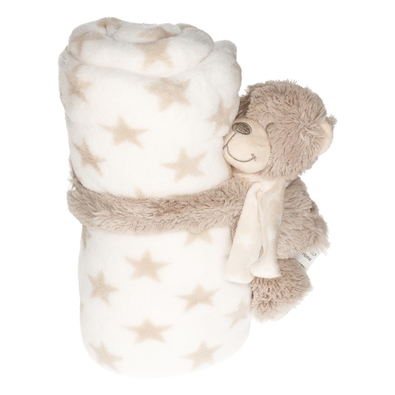 Baby-kinder wit dekentje met knuffelbeer