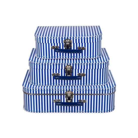 Babykamer koffertje blauw met witte strepen 25 cm