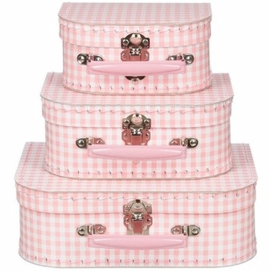 Babykamer koffertje lichtroze met ruiten 20 cm