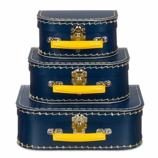 Babykamer koffertje marineblauw-geel 16 cm