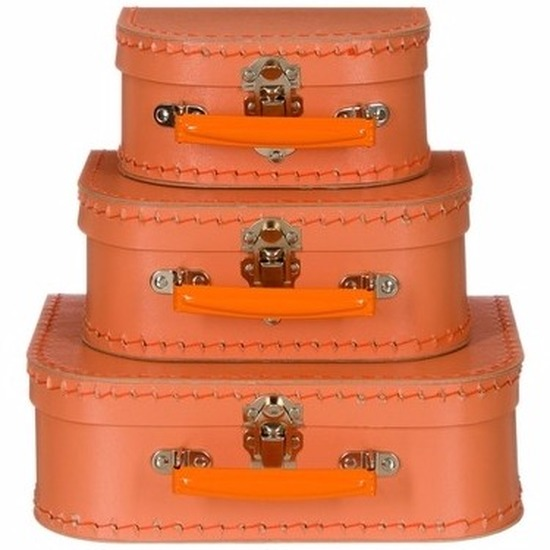 Babykamer koffertje oranje el 20 cm