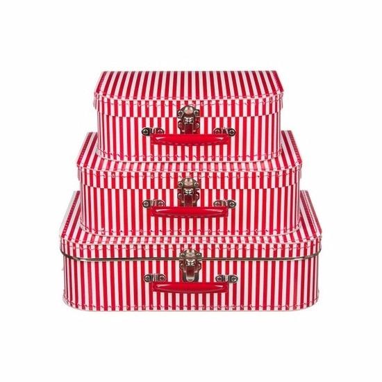 Babykamer koffertje rood met witte strepen 30 cm