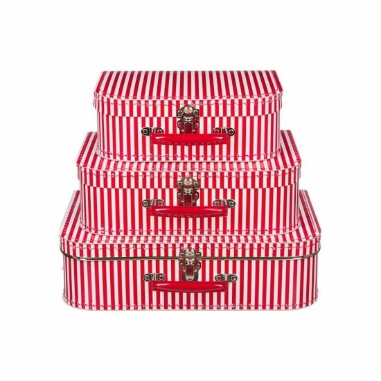 Babykamer koffertje rood met witte strepen 35 cm
